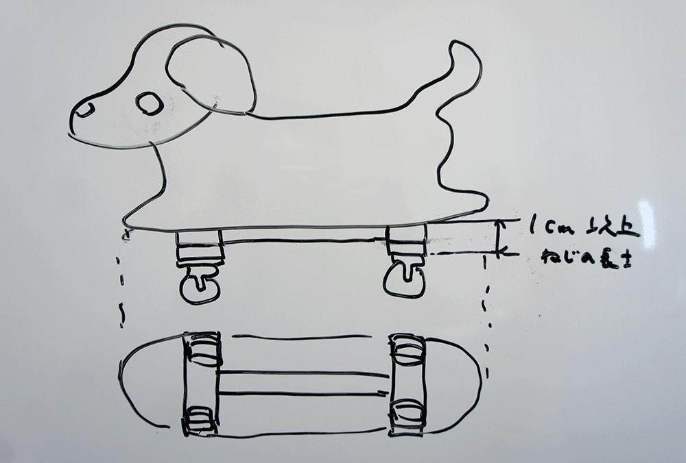 お散歩コロコロわんわんズのタイヤの修理の設計図