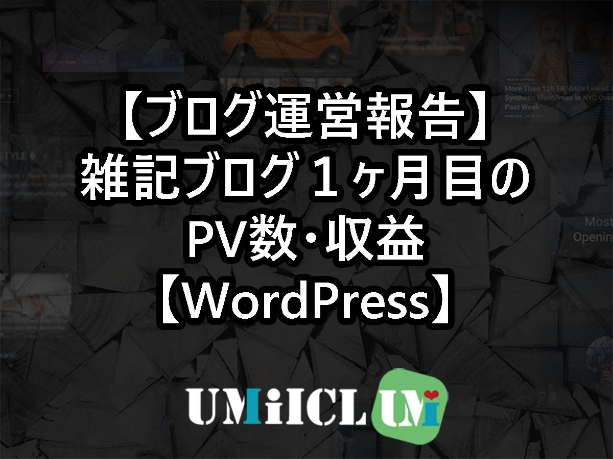 【ブログ運営報告】雑記ブログ1ヶ月目のPV数・収益【WordPress】