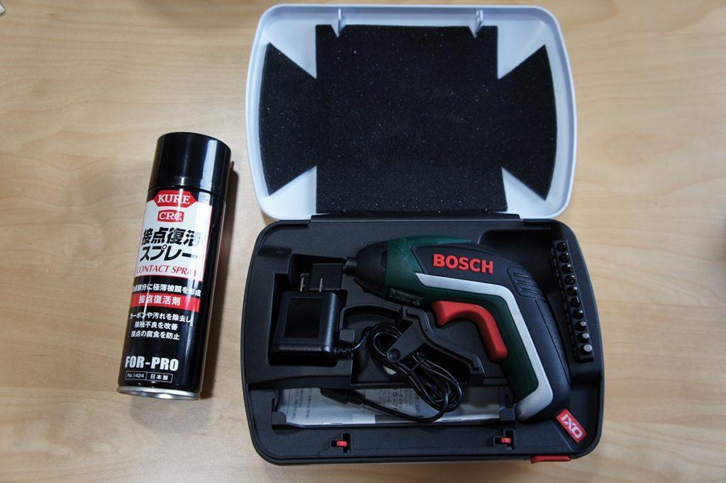 BOSCH バッテリードライバー IXO5 と KURE 接点復活スプレー