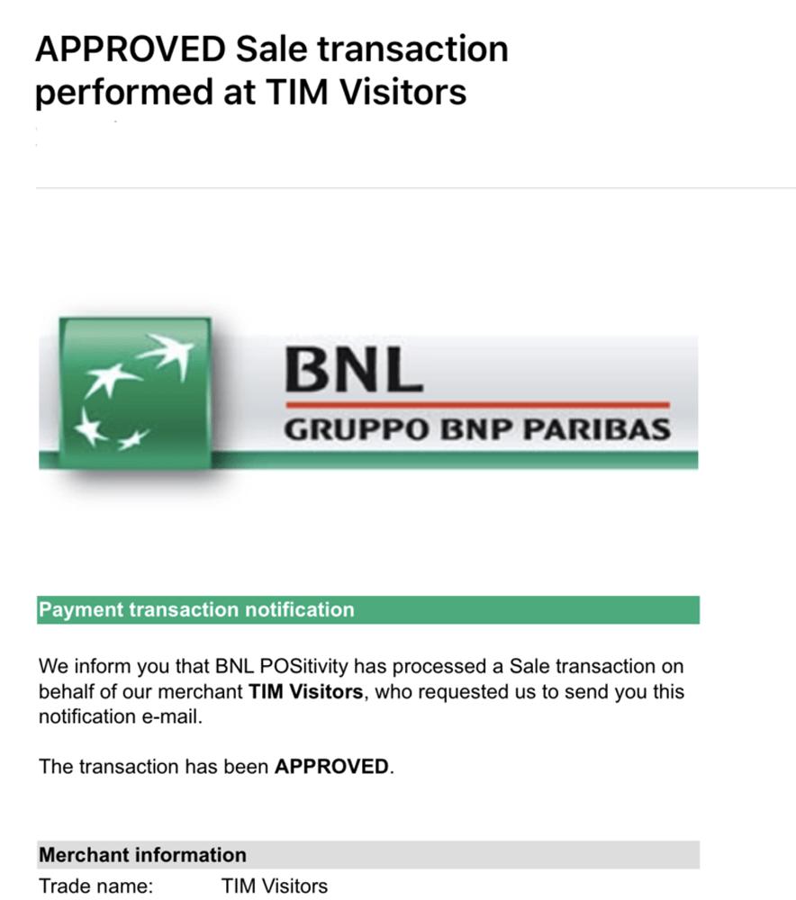 TIM TOURIST 決済情報