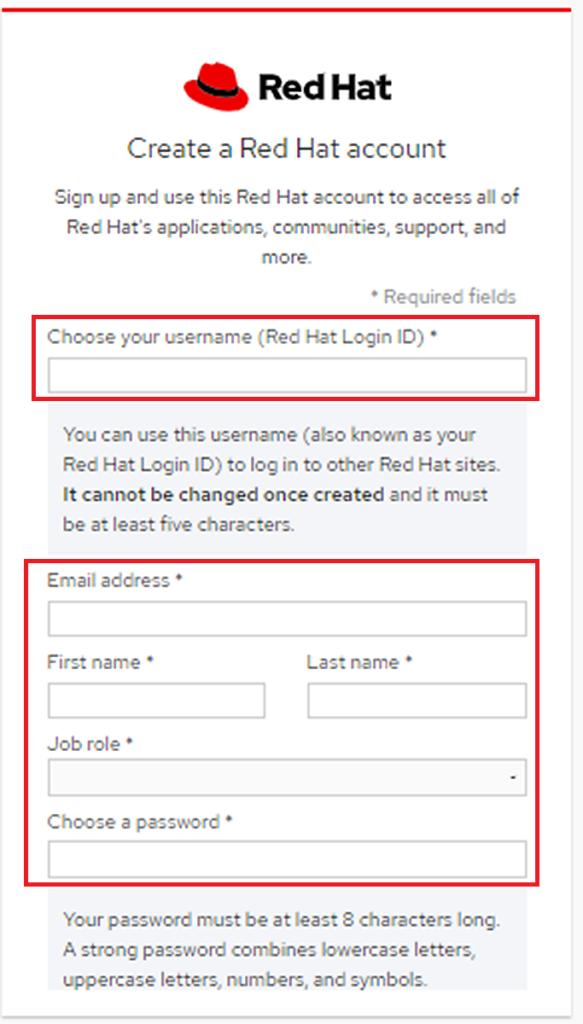Red Hat アカウント登録 2