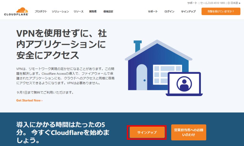 Cloudflare サインイン方法1