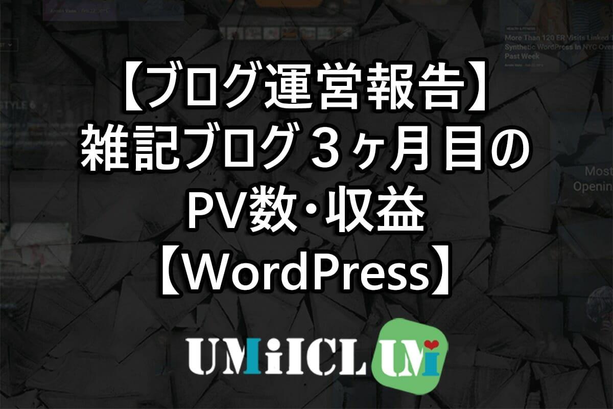 【ブログ運営報告】雑記ブログ3ヶ月目のPV数・収益【WordPress】