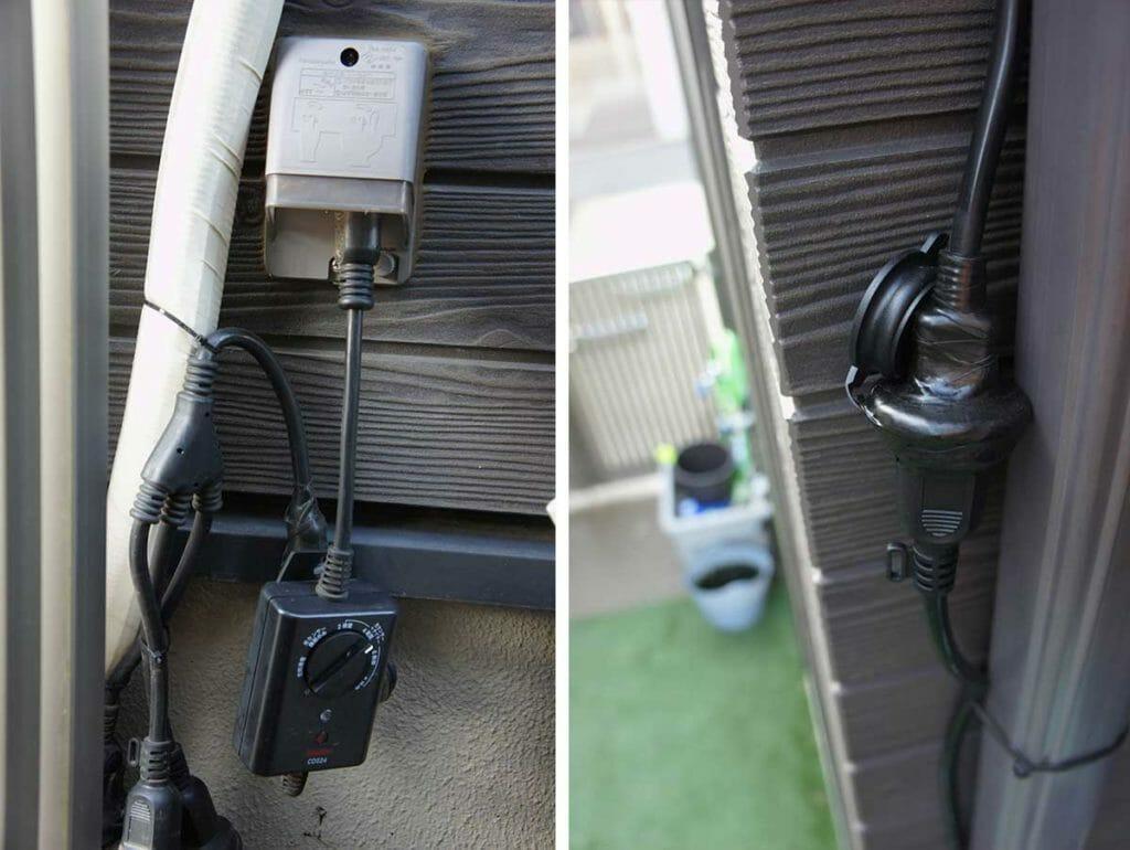 屋外型延長ケーブルと光センサー付きコンセント