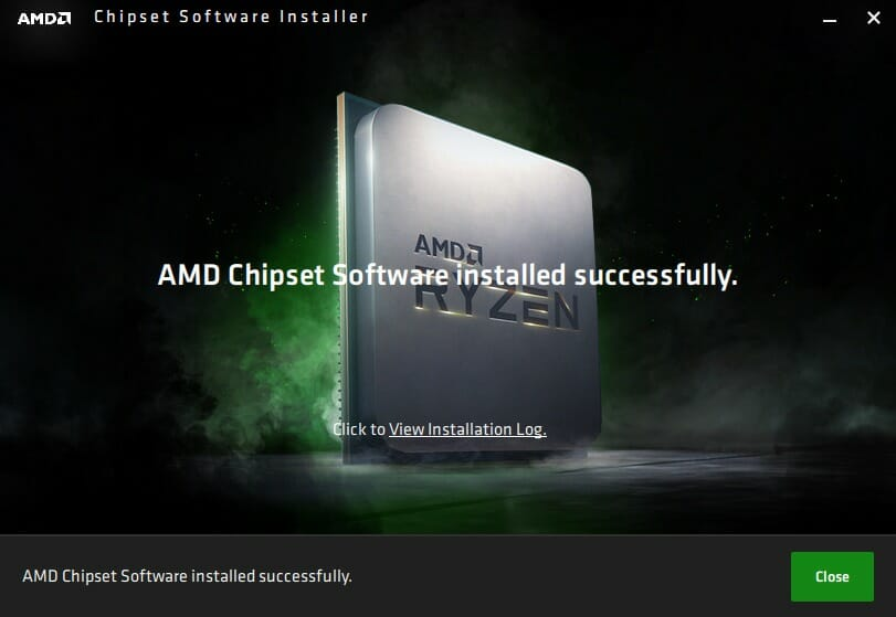 AMD Chipset Software Installer 完了画面