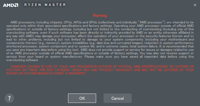 AMD Ryzen Master 警告画面