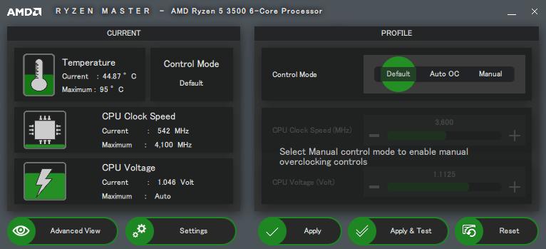 AMD Ryzen Master 簡易画面