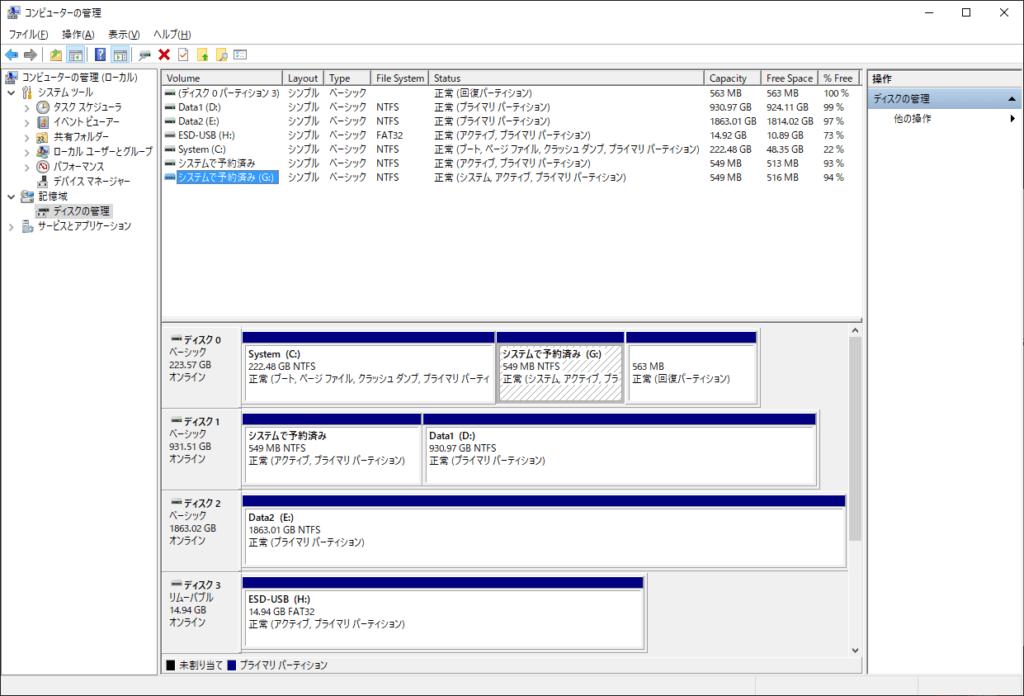 ブート情報書き換え後のディスク状態