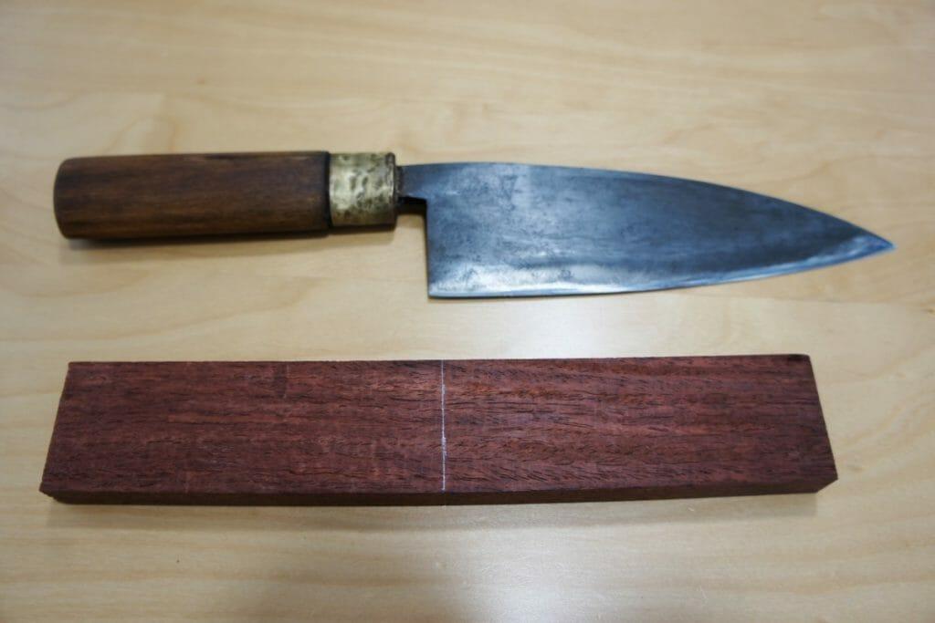 ヤフオクで購入した和包丁と花梨の木材