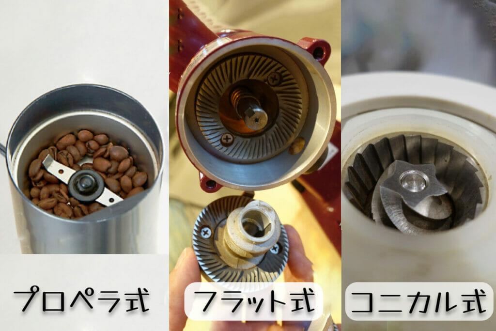 プロペラ式・フラット式・コニカル式 コーヒーミル