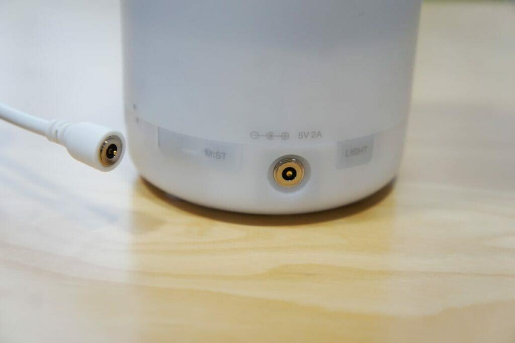 無印良品 超音波アロマディフューザーの電源端子