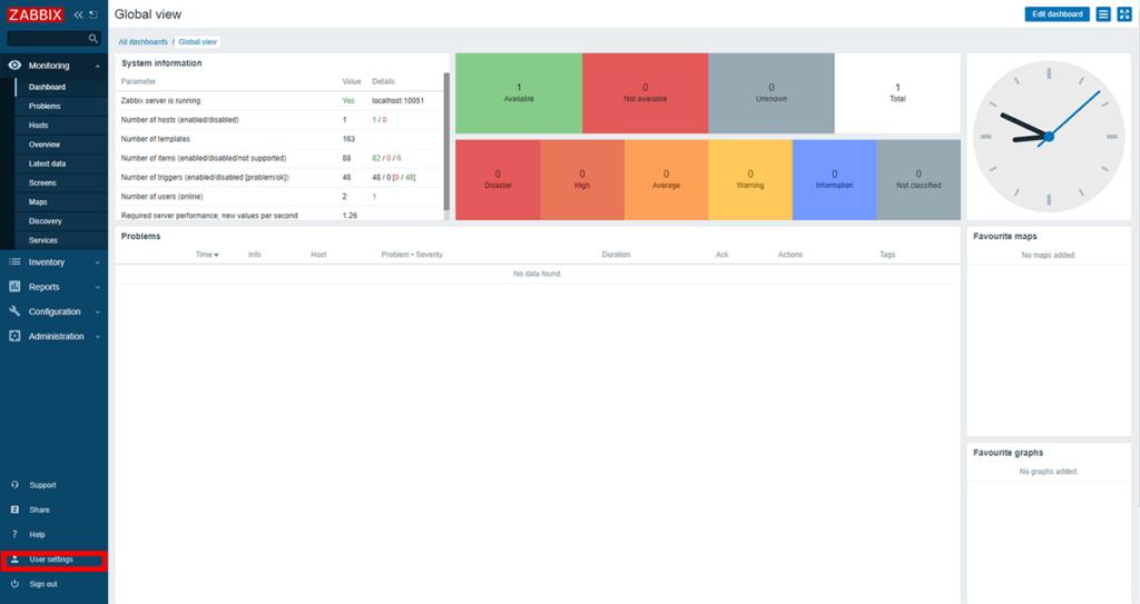 Zabbix WebUI 英語画面