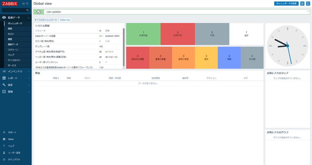 Zabbix WebUI 日本語画面