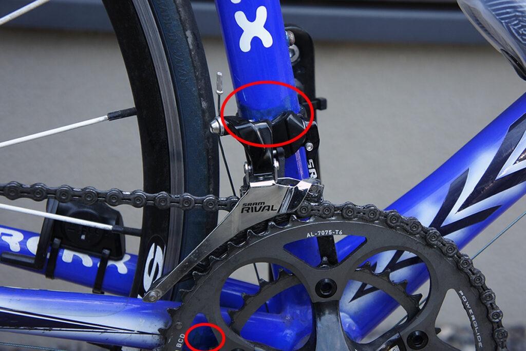 ロードバイク フロントディレイラー周辺塗装補修後