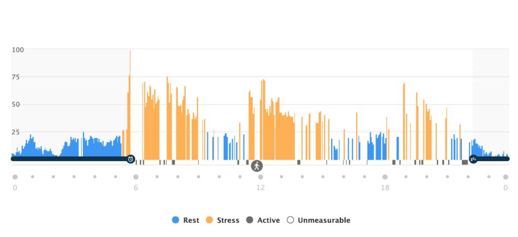 Garmin Connect ストレスレベルデータ