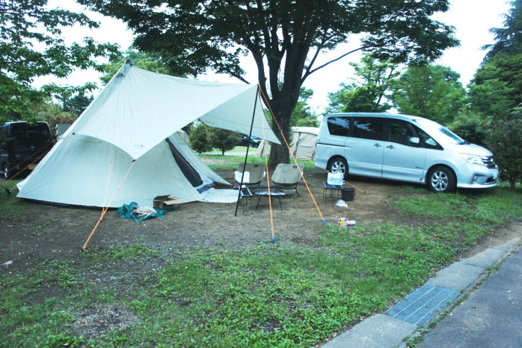 つくばねオートキャンプ場 オートサイト オートサイト テント設営後