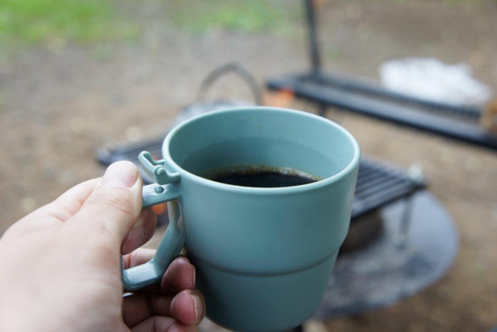 つくばねオートキャンプ場 オートサイト オートサイトキャンプ 朝のコーヒー